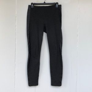 J Crew Grey Cropped Leggings, Leather Trim Size 4